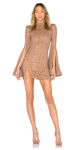 Michael Costello x REVOLVE Mr. Gibson Mini Dress in brown - Self: 90% rayon 5% poly 5% spandexLining: 90% poly 10%...