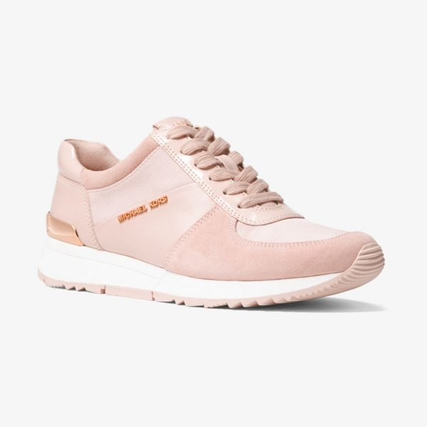 MICHAEL Michael Kors Allie Leather And Canvas Sneaker in pink - Designed In A Mix Of Smooth Leather Suede And Canvas Our...