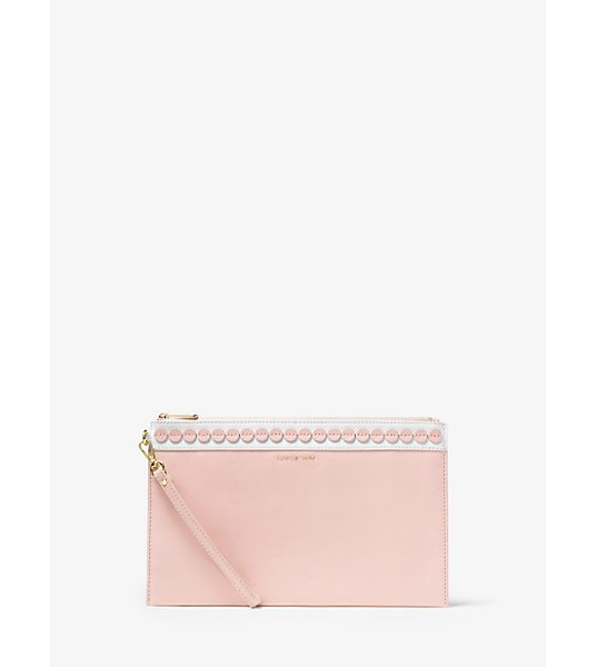 Michael Kors Analise extra-large applique leather clutch - When it comes to Analise it's all about the details....