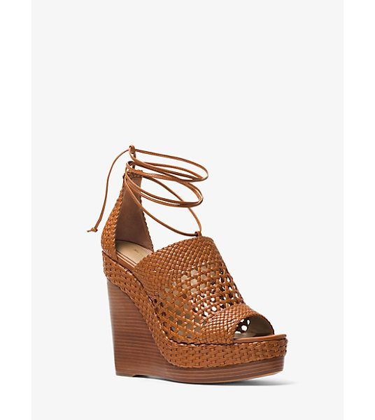 Michael Kors Collection Angela Woven Calf Leather Wedge in brown - A Vacation-Ready Pair With Tactile Richness The Angela...
