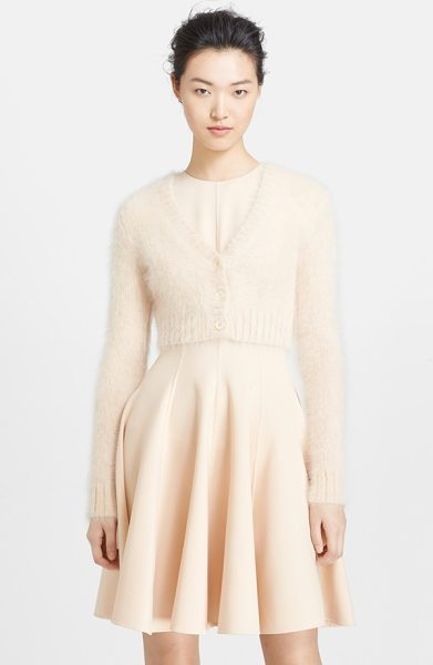 MICHAEL KORS angora blend crop cardigan - Fluffy angora yarns softly texture a fitted V-neck...