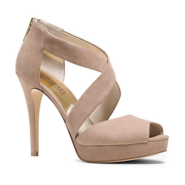 Michael Kors Ariel Suede Platform Sandal in natural - Our Ariel Platforms Fuse A Sultry Silhouette With...