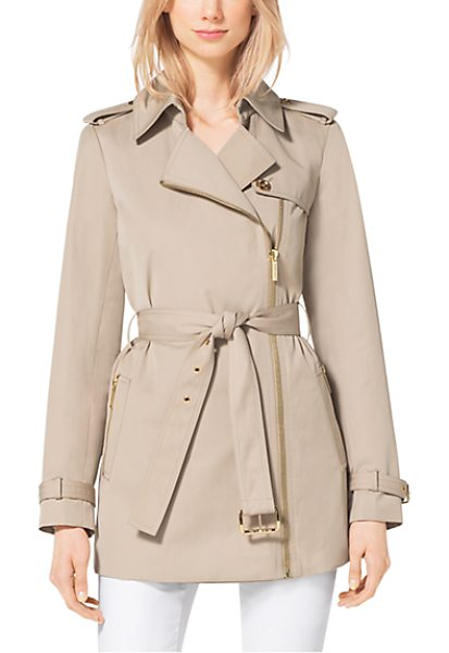 MICHAEL KORS Asymmetrical Zip-Front Trench Coat - An Asymmetrical Zip Front And Cropped Length Redefine...