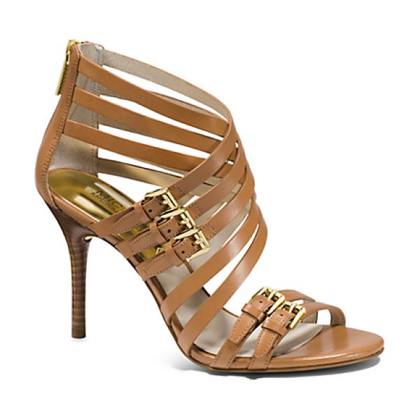 Michael Kors Ava Leather Sandal in brown - Our Avas Offer The Allure Of A Cage Heel In Sleek Sandal...