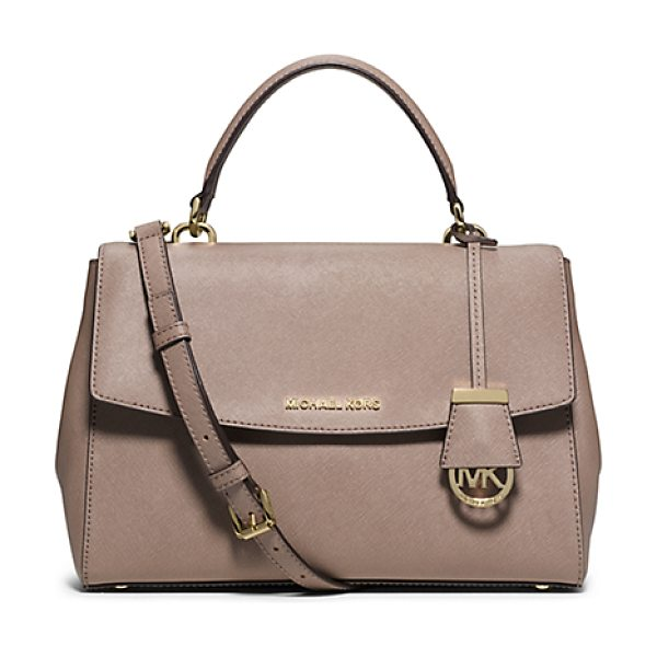 Michael Kors Ava Medium Saffiano Leather Satchel in natural - This Decidedly Ladylike Take On The Top-Handle Bag...
