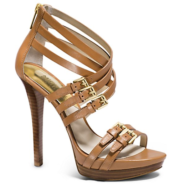 Michael Kors Ava Leather Platform Sandal in brown - Crafted From Luxe Vachetta Leather Our Ava Platform...