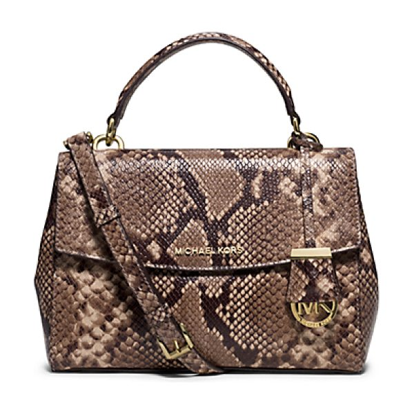Michael Kors Ava Small Embossed-Leather Satchel in natural - This Decidedly Ladylike Take On The Top-Handle Bag...