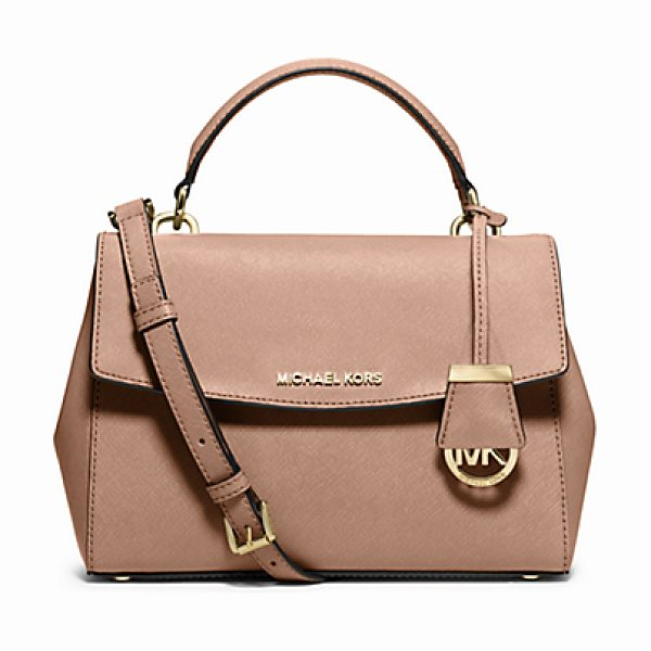 Michael Kors Ava Small Saffiano Leather Crossbody Satchel in pink - This Decidedly Ladylike Take On The Top-Handle Bag...