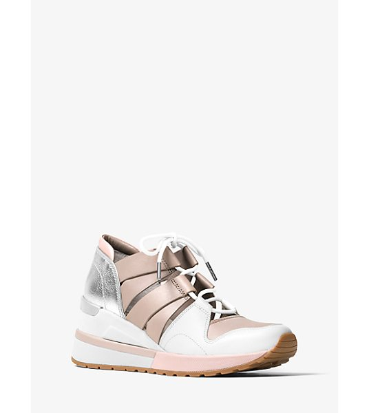 MICHAEL Michael Kors Beckett Leather And Metallic Sneaker in pink