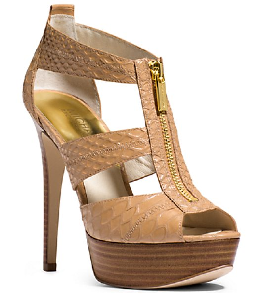Michael Kors Berkley Embossed-Leather Platform Sandal in brown