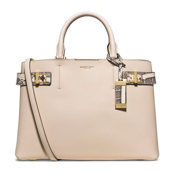 Michael Kors Bette large satchel bag in vanilla - Michael Kors French calfskin satchel bag with snakeskin...