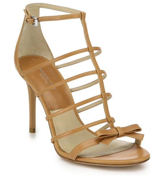 Michael Kors Blythe caged leather bow sandals in tan - A dainty bow adorns this delicate take on the cage...