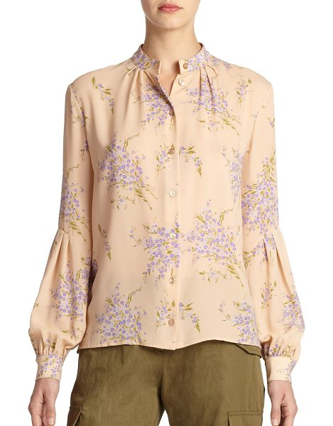 MICHAEL KORS Bouquet floral silk blouse in nudemulti - Scattered bouquets elevate the romantic allure of this...