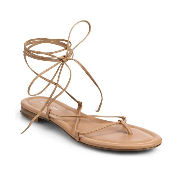 MICHAEL KORS Bradshaw lace-up leather sandals in suntan - Crafted in rich, Italian leather, delicate laces...