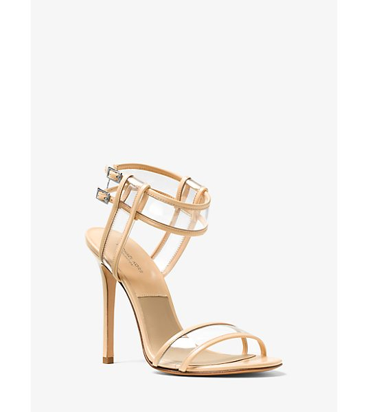 MICHAEL KORS Brittany Leather And Vinyl Sandal in natural - Modern Meets Minimal In Our Brittany Sandals. Delicate...