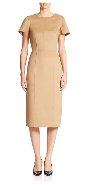Michael Kors Brushed wool-blend sheath in fawn - Woven with angora for a soft finish, this brushed wool...