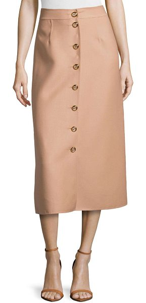 "Michael Kors Button-front midi skirt in suntan - Crepe skirt by Michael Kors. Approx. measurements: 33""L..."