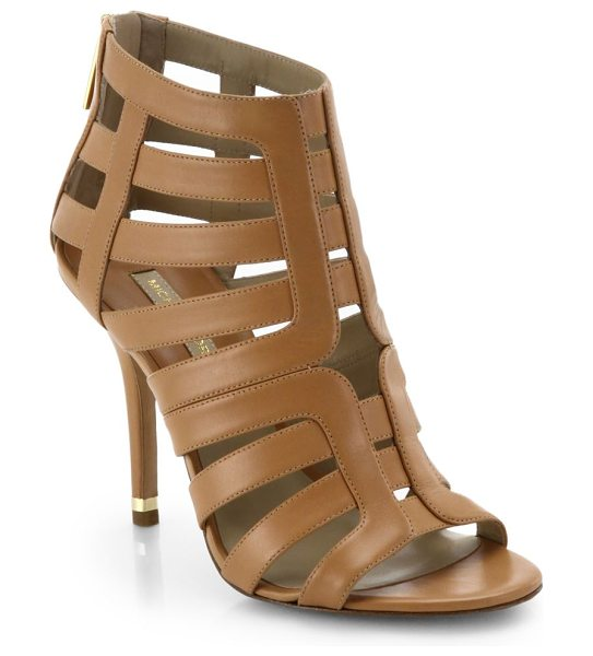 Michael Kors Caleb leather cage sandals in suntan