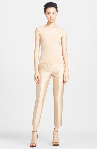 Michael Kors cap sleeve cashmere top in nude - Lofty Italian cashmere yarns refine an essential,...