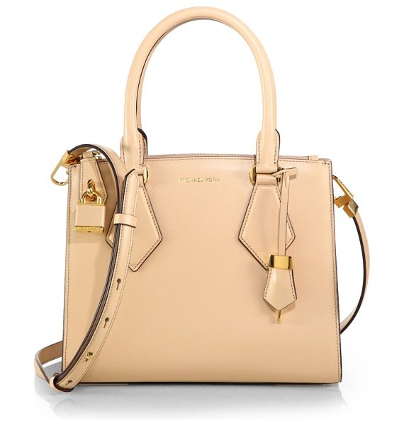 Michael Kors Casey small satchel in vanilla - Crisply structured in smooth leather, this sleek satchel...