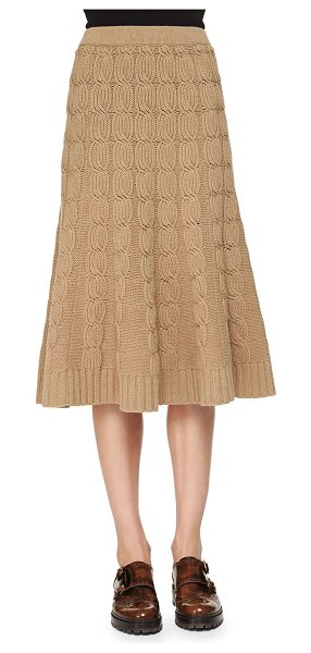 Michael Kors Cashmere-blend cable-knit trumpet skirt in fawn - Michael Kors cashmere-blend cable-knit skirt with ribbed...