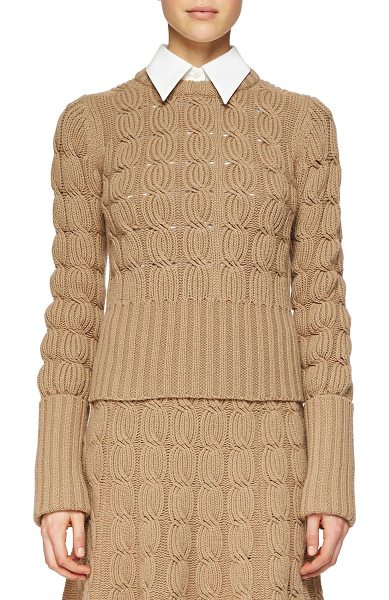 Michael Kors Cashmere-blend mixed-knit sweater in fawn - Michael Kors cable and ribbed knit cashmere-blend...