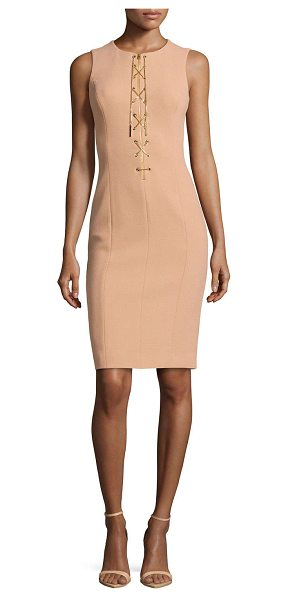 Michael Kors Chain-front fitted dress in suntan - Michael Kors knit dress with golden chain accents....