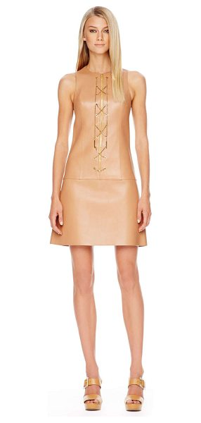 Michael Kors Chain-front leather dress in suntan - Michael Kors suntan leather with golden chain front....