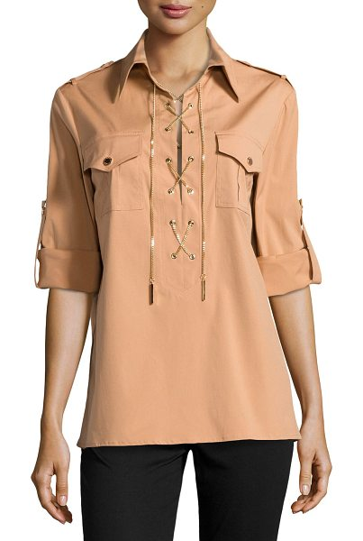 "Michael Kors Chain-front safari shirt in suntan - Michael Kors safari shirt. Approx. measurements: 23. 5""L..."