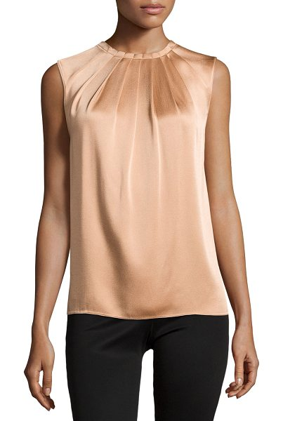 "Michael Kors Charm pleated-front top in suntan - Michael Kors satin top. Approx. measurements: 23""L..."
