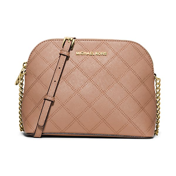 Michael Kors Cindy large quilted-leather crossbody in pink - The effortless crossbody reinvented with sophisticated...