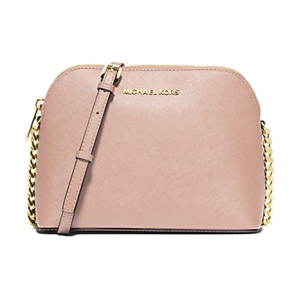 Michael Kors Cindy large saffiano leather crossbody in pink - Never before has a crossbody looked so sophisticated. We...