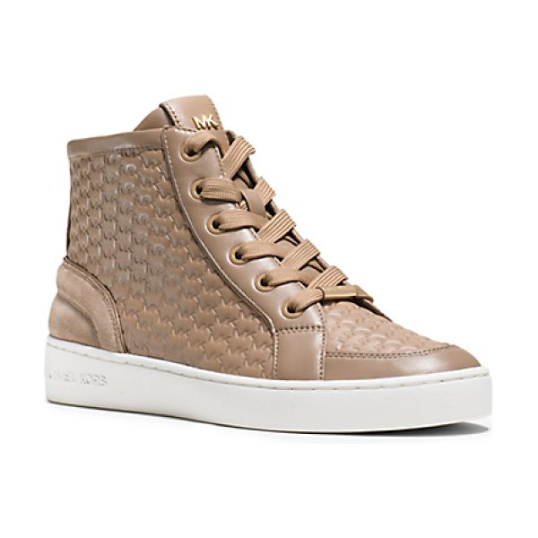 Michael Kors Colby Embossed High-Top Sneakers in natural - Logo Embossing Puts A Textural Spin On These Sporty...