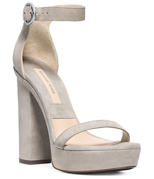 Michael Kors Collection Adelina Suede Sandal in brown - Soft Romantic Shades Of Gray Are The New Neutral For...