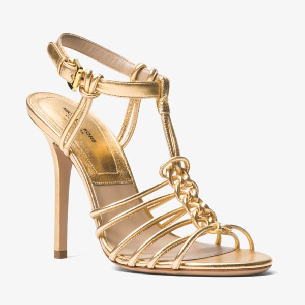Michael Kors Collection Alek Metallic Leather Sandal in gold - Our Alek Sandals Are Designed In Metallic Nappa Leather...