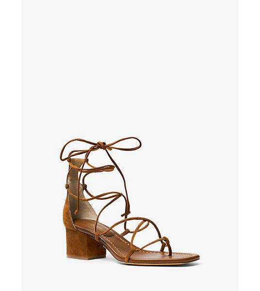 Michael Kors Collection Ayers Suede Lace-Up Sandal in brown - Set On A So-Now Block Heel The Ayres Sandal Showcases...