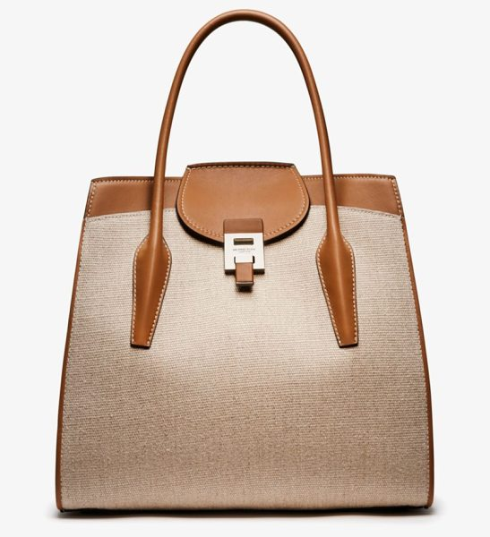 Michael Kors Collection Bancroft Large Linen And Calf Leather Satchel in brown - Crafted In Italy The Bancroft Satchel Evokes A Laid-Back...