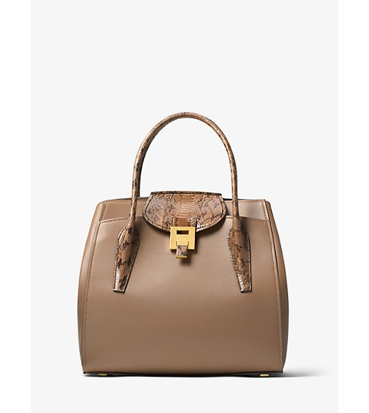 Michael Kors Collection Bancroft Large Calf Leather And Snakeskin Satchel in natural - Crafted In Italy The Bancroft Satchel Evokes A Laid-Back...