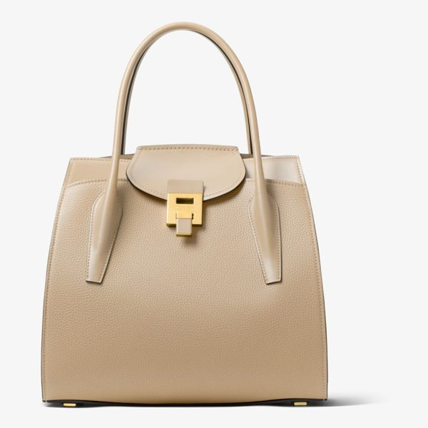 MICHAEL KORS COLLECTION Bancroft Large Pebbled Calf Leather Satchel in natural - Crafted In Italy The Bancroft Satchel Evokes A Laid-Back...