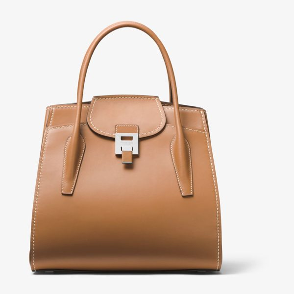 Michael Kors Collection Bancroft Large Calf Leather Satchel in brown - Crafted In Italy The Bancroft Satchel Evokes A Laid-Back...