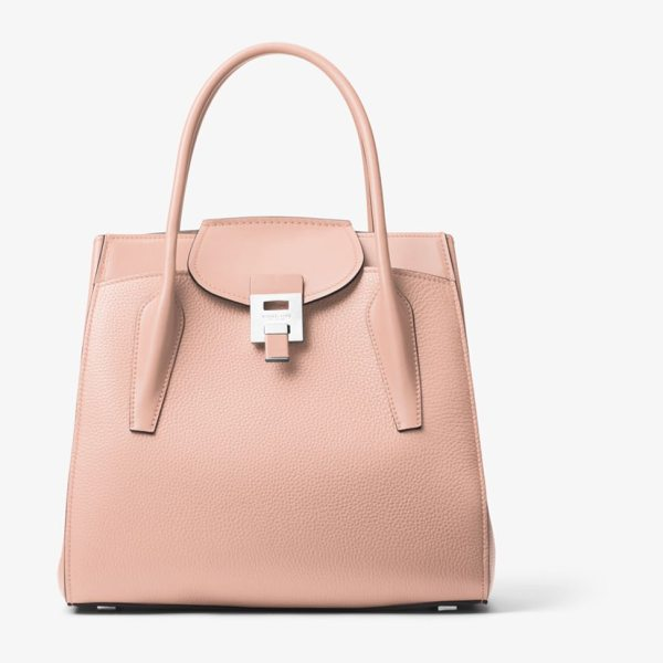 Michael Kors Collection Bancroft Large Pebbled Calf Leather Satchel in pink
