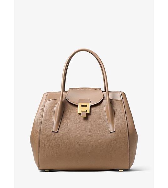 Michael Kors Collection Bancroft Large Calf Leather Satchel in natural - The Bancroft Satchel Evokes A Laid-Back Timeless Glamour...