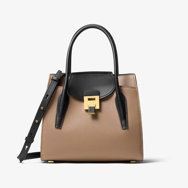 Michael Kors Collection Bancroft Medium Leather Tote in natural - Cast In Contrasting Hues For A Modern Touch The Bancroft...
