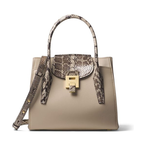 Michael Kors Collection mediumbandcroft leather satchel in sand - Leather satchel with edgy snakeskin detailing. Double...