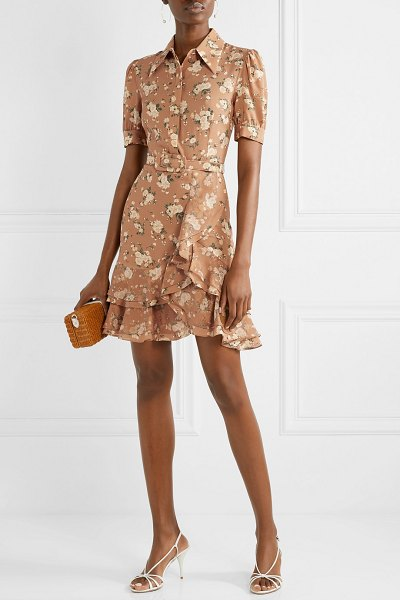 Michael Kors Collection belted ruffled floral-print silk-georgette mini dress in tan