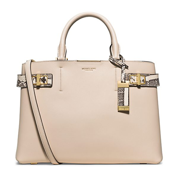 Michael Kors Collection Bette Large Leather And Python Satchel in natural - Meet Bette A Fresh Take On Modern Luxury. Thoughtfully...
