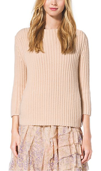 MICHAEL KORS COLLECTION Boatneck Cashmere Sweater - Cast In A Creamy Hue This Cashmere Sweater Offers A...