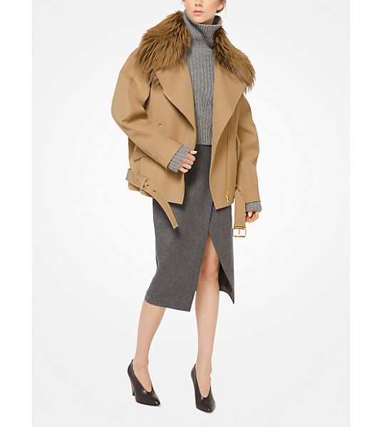 MICHAEL KORS COLLECTION Bonded Wool Jacket With Fox Collar - In Bonded Wool With A Genuine Fur Collar The Moto Jacket...