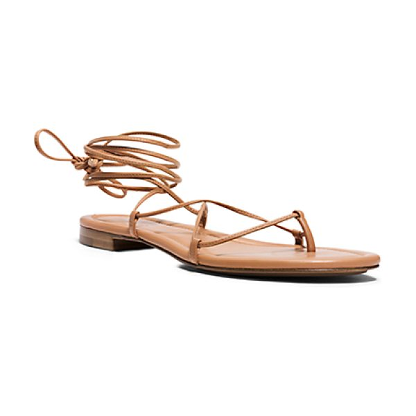 Michael Kors Collection Bradshaw runway leather sandal in suntan - Make an understated statement in our Bradshaw sandals....