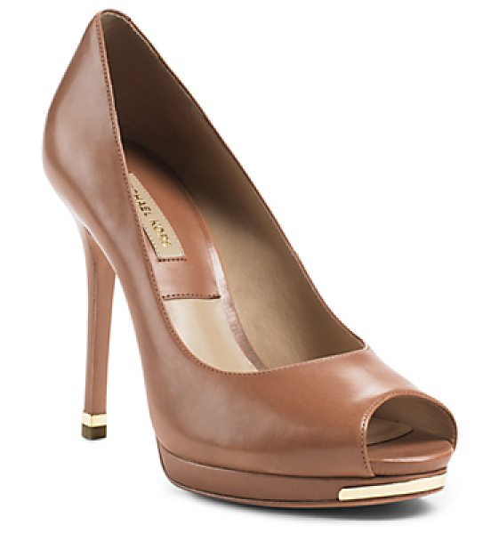 Michael Kors Collection Brenda peep-toe leather pump - Kick up the glam factor with our Brenda pumps-a luxe...